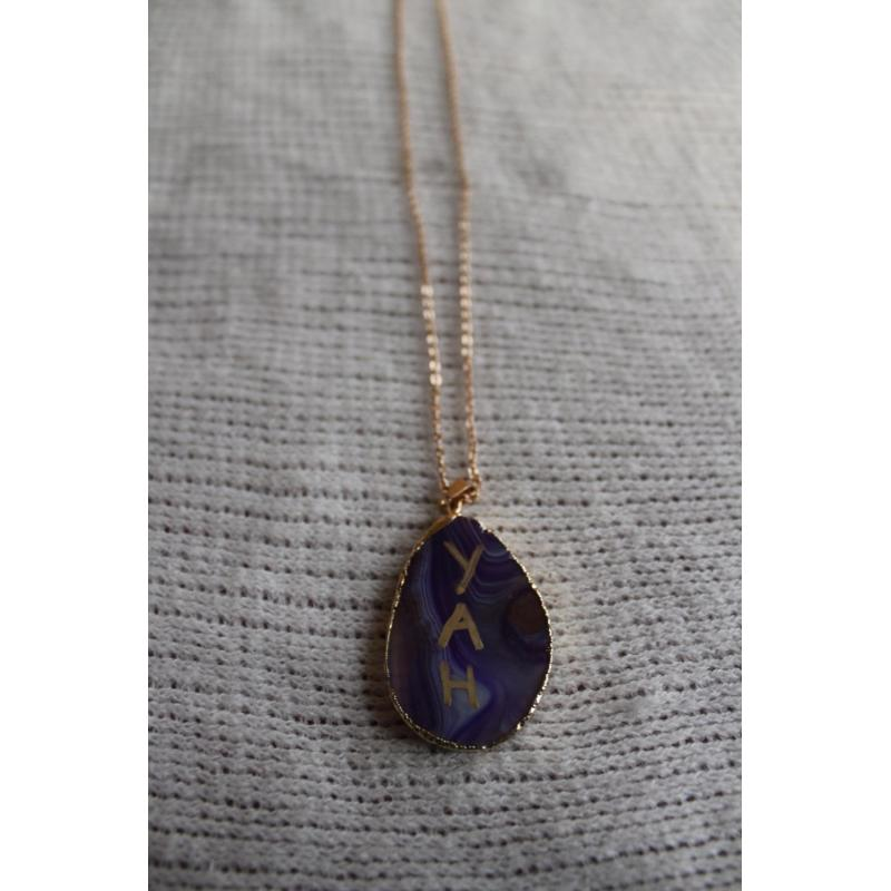 Handcrafted Stone YAH Necklace Single Sided