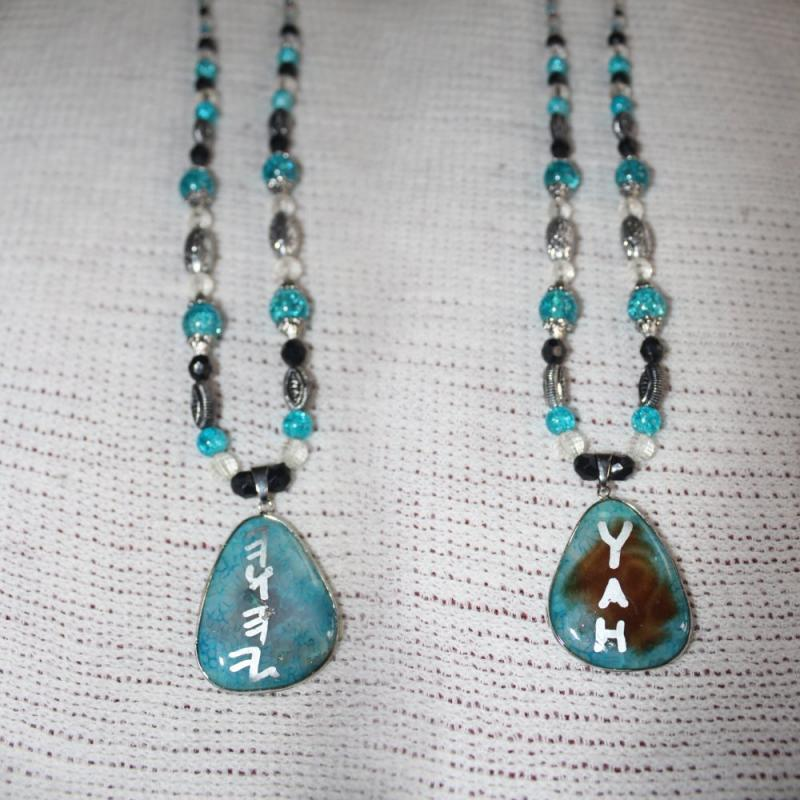 Handcrafted Stone YAH Necklace Double Sided