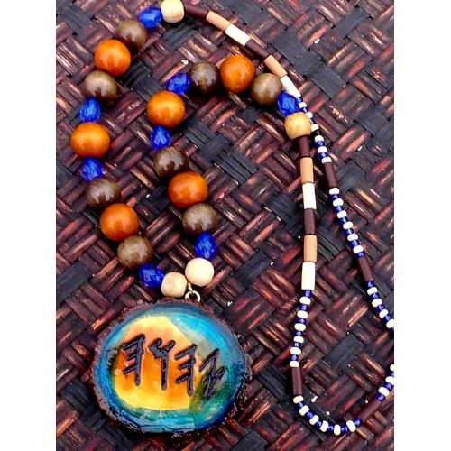 One Handcrafted Paleo Hebrew Necklace Single Sided Colorful Medallion