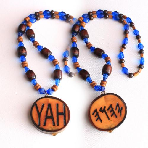 One Handcrafted YAH Necklace Double Sided