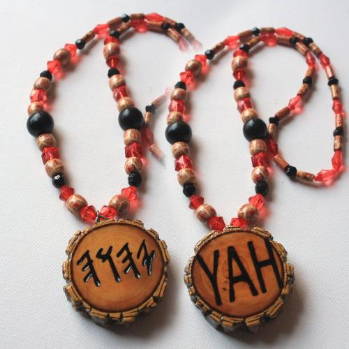 One Handcrafted YAH Necklace Double Sided Medallion