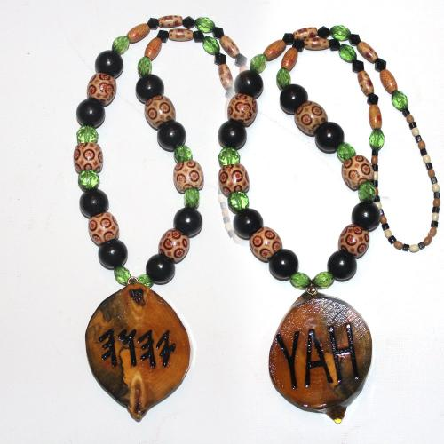One Handcrafted YAH Necklace Double Sided, with Odd Shaped Medallion