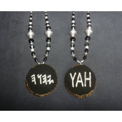 Handcrafted HalleluYAH Necklace Double Sided Black & Silver