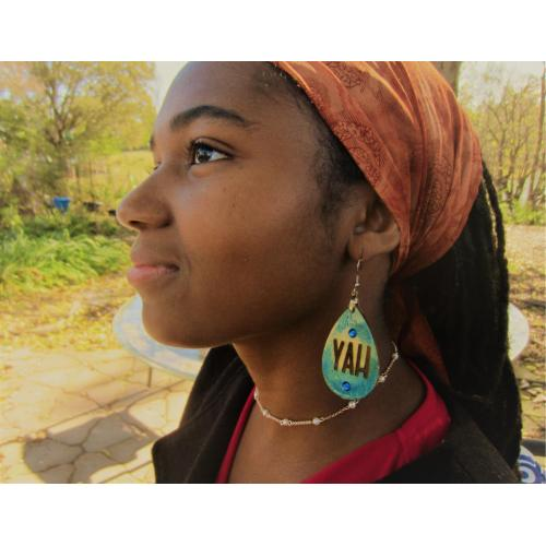 One Pair Handcrafted Earrings with the Most High's name YAH