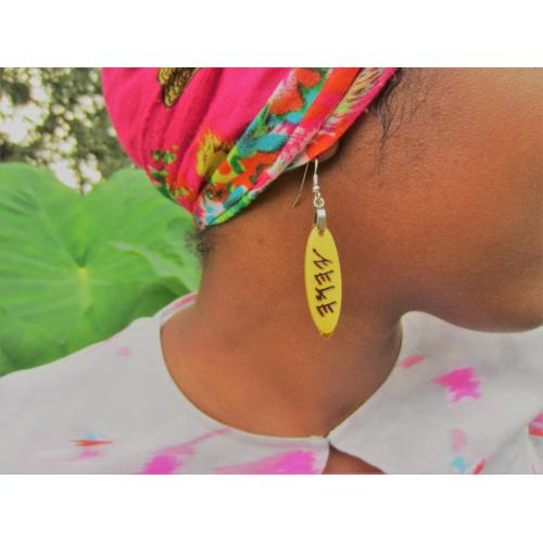 One Pair Handcrafted Earrings with Paleo Hebrew name of the Most High