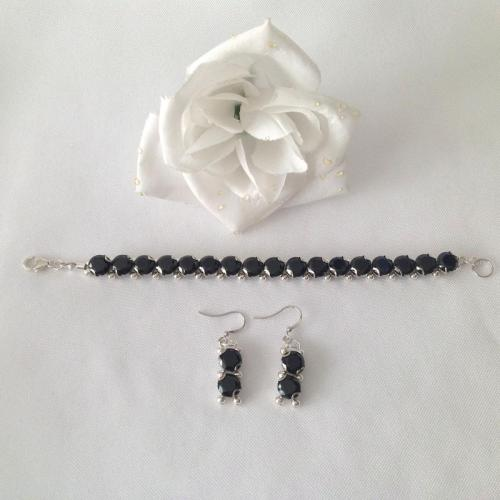 Black Ice Cubic Zirconia Tennis Bracelet and Earring Set
