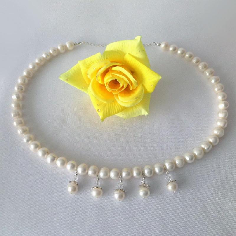 23 Inch Fresh Water Cultivated White Pearl Necklace and Earring Set