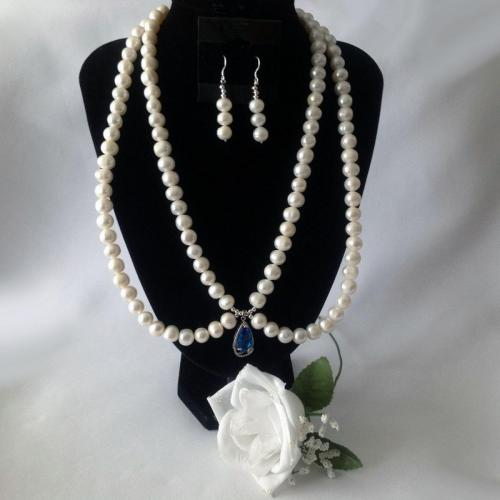 23 Inch Double Stranded White Freshwater Cultivated Pearls Necklace Set with Earrings