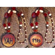 One Handcrafted YAH Necklace Double Sided, with Large Artistic Medallion