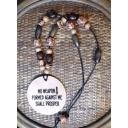 Leather Beaded Scripture Necklace - No Weapon Scripture ISAIAH 54:17