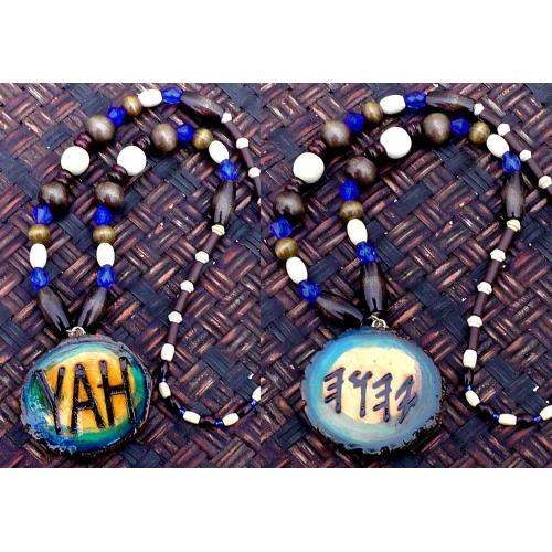 One Handcrafted YAH Necklace Double Sided with Artistic Coloful Medallion