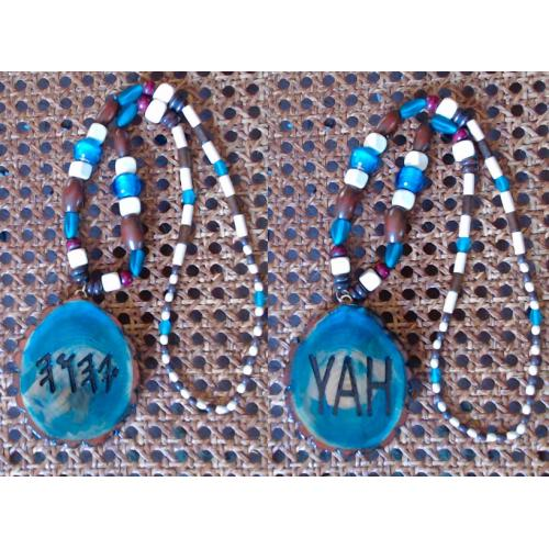 One Handcrafted YAH Necklace Double Sided, with Artistic Odd Shaped Medallion