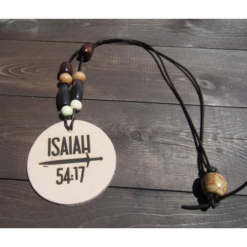 Leather Beaded Scripture Necklace - ISAIAH 54:17 Laser - Etched Design