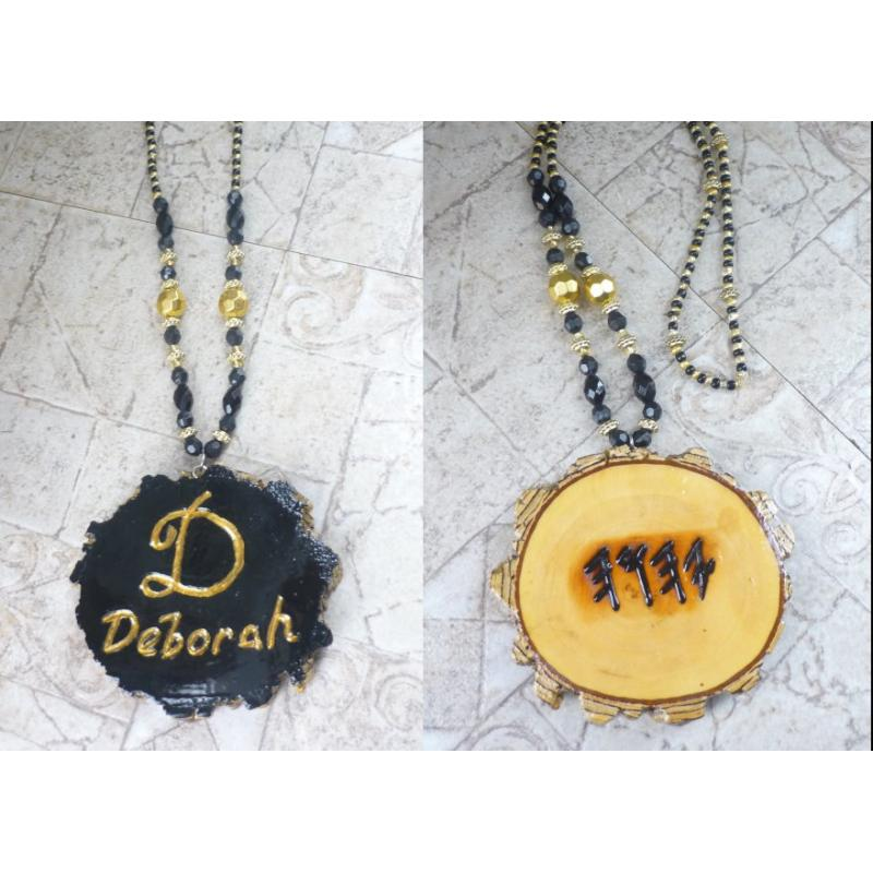 Customized Name Handcrafted Necklace Double Sided Black & Gold