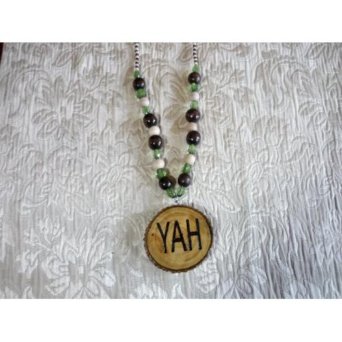 Handcrafted YAH Necklace Double Sided Long 28 inches