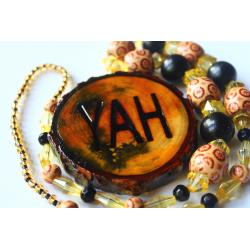 One Handcrafted YAH Necklace Double Sided with Artistic Coloful Large Medallion