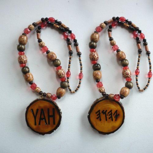 One Handcrafted YAH Necklace Double Sided Large Medallion